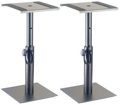 Two height-adjustable monitor or light stands (short)