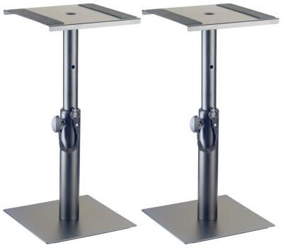 Twee in hoogte verstelbare monitor- of lichtstandaards (laag model)