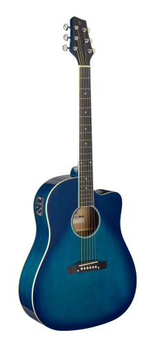 Cutaway, akustisch-elektrische Slope Shoulder Dreadnought Gitarre, Transparent Blau