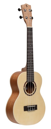 Traditional tenor ukulele with spruce top and black nylon bag