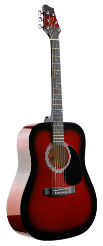 4/4 acoustic dreadnought guitar with redburst basswood top