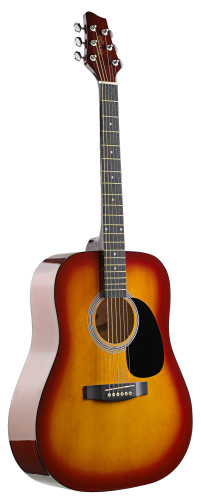 4/4 acoustic dreadnought guitar with cherryburst basswood top