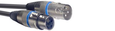 Microphone cable, XLR/XLR (m/f), 3 m (10'), blue ring