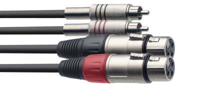 Twin cable, XLR/RCA (f/m), 3 m (10')