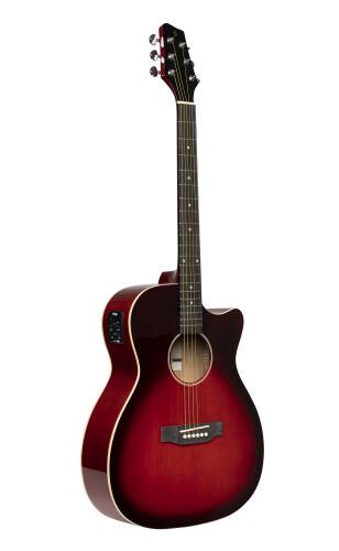 Guitare auditorium électro-acoustique avec pan coupé, rouge transparent