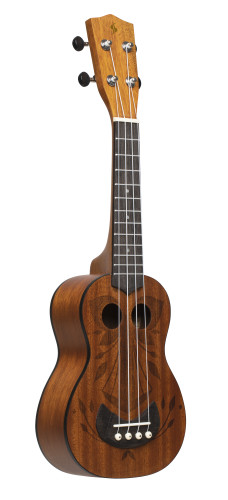 Tiki series soprano ukulele with sapele top, Oh finish, with black nylon gigbag