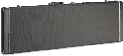 Vintage-style zwarte tweed deluxe koffer voor elektrische basgitaar; rechthoekig model