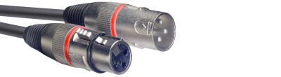 Câble de microphone XLR/XLR (m/f), 3 m, anneau rouge