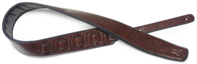 Brown padded leatherette guitar strap