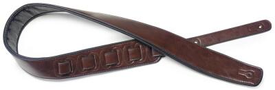 Sangle rembourrée brune en similicuir pour guitare