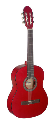 3/4 red classical guitar with linden top