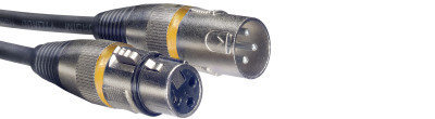 Câble de microphone XLR/XLR (m/f), 3 m, anneau jaune
