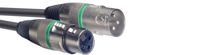 Microphone cable, XLR/XLR (m/f), 3 m (10'), green ring