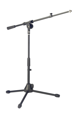 Low profile microphone stand with telescopic boom