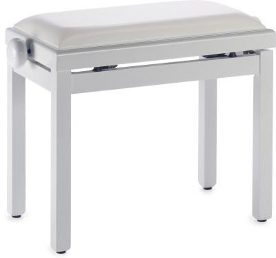 Highgloss white piano bench with white vinyl top
