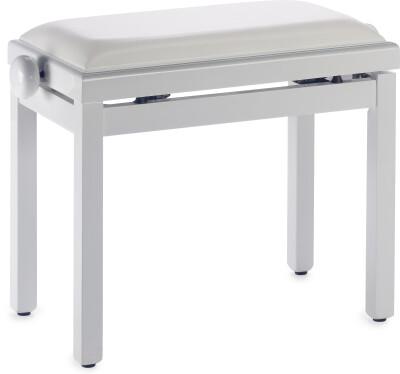 Hoogglanzende witte pianobank met witte vinyl zitting