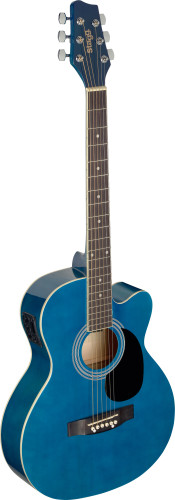 Blue auditorium cutaway acoustic-electric guitar with basswood top