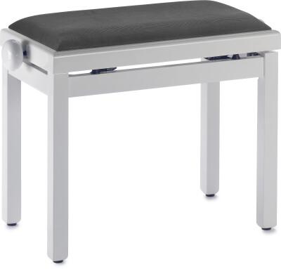 Hochglanz Weiß Klavierbank mit Samt Sitzfläche in Schwarz
