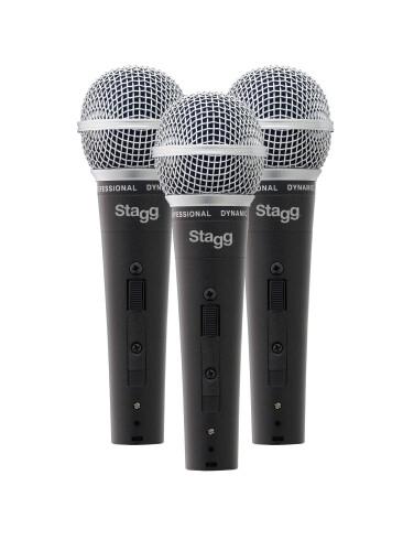 Set van drie professionele dynamische microfoons met DC78 kapsel en nierkarakteristiek (cardioid)