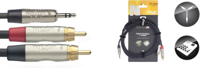 Y-cable, mini jack/RCA (m/m), 1.5 m (5'), black, Deluxe