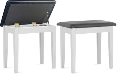 Matt white piano bench with black vinyl top and storage compartment