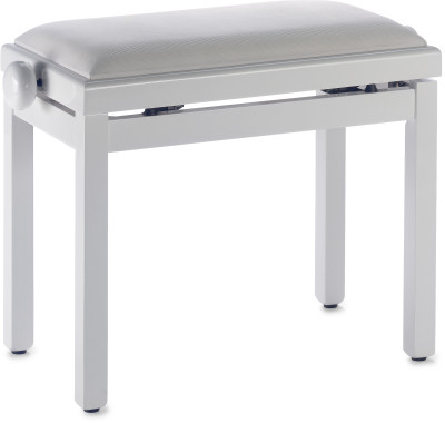 Highgloss white piano bench with white velvet top