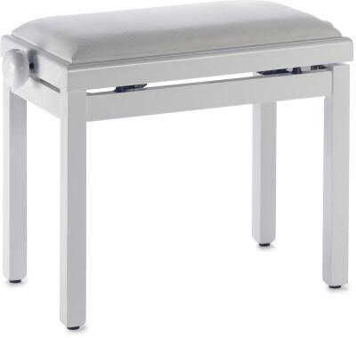 Hochglanz Weiß Klavierbank mit Samt Sitzfläche in Weiß