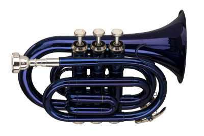 Bb pocket trumpet, ML-bore, brass body, blue