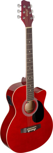 Red auditorium cutaway acoustic-electric guitar with basswood top