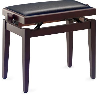 Matt piano bench, rosewood colour, with black vinyl top