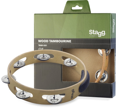 "8"" headless wooden tambourine with 1 row of jingles"