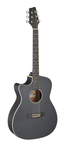 Cutaway acoustic-electric auditorium guitar, black, left-handed model