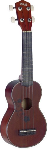 Traditional soprano ukulele with flower design, in black nylon gigbag