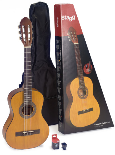 Guitar pack with 3/4 natural-coloured classical guitar with linden top, tuner, bag and colour box