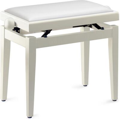 Matt white piano bench with white vinyl top