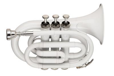 Bb pocket trumpet, ML-bore, brass body, white