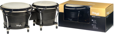 "7.5"" and 6.5"" black Latin wood bongos"