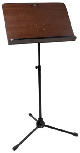 Orchestral music stand with wooden music rest & foldable steel legs