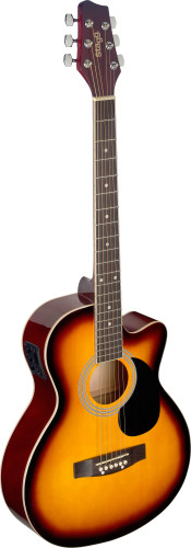 Sunburst auditorium cutaway acoustic guitar with basswood top