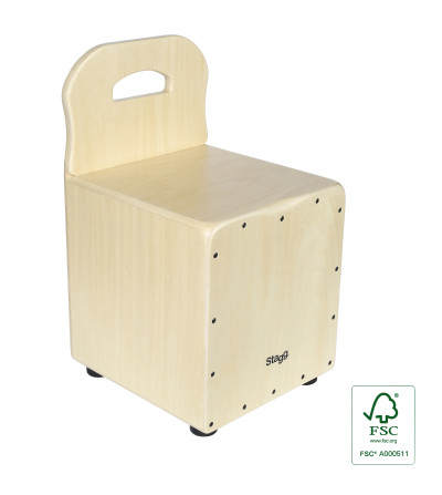 Basswood kid's cajón with EasyGo backrest, natural-coloured front board