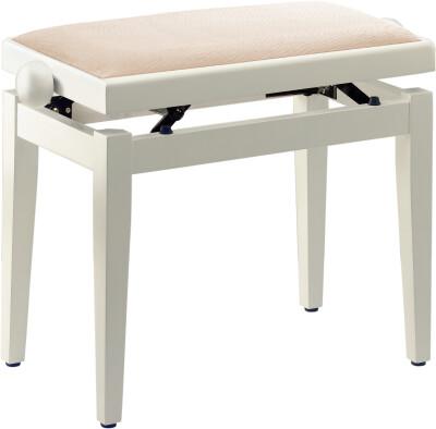 Matt white piano bench with beige velvet top