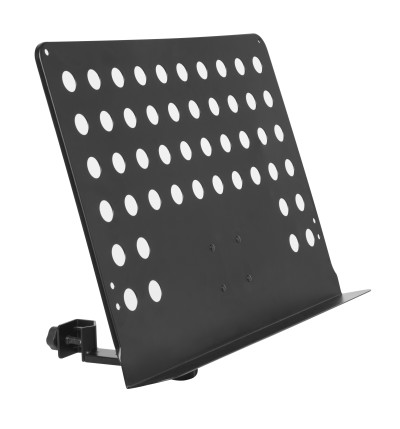 Large perforated music stand plate with attachable holder arm