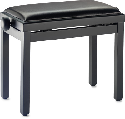 Matt black piano bench with black vinyl top