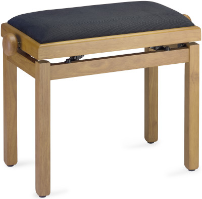 Matt piano bench, natural colour, with black velvet top