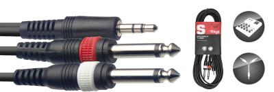 Y cable, mini jack/jack (1m/2m), 6 m (20')