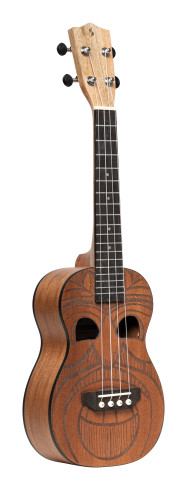 Tiki series concert ukulele with sapele top, Maio finish, with black nylon gigbag