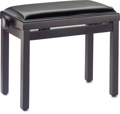 Matt piano bench, rosewood colour, with black vinyl top