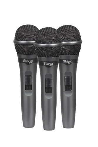 Set of 3 cardioid dynamic microphones for live performances
