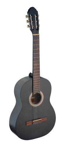 4/4 black classical guitar with linden top
