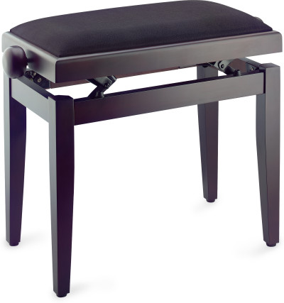 Matt piano bench, rosewood colour, with black smooth velvet top